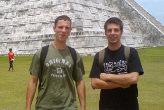 Two buddies volunteering abroad.